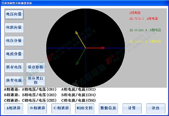发电机综合特性测试仪三相分析相量图