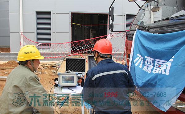 感应耐压带局放测量装置应城220kV主变试验现场
